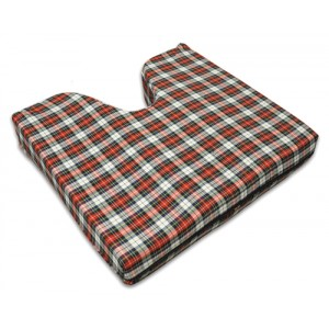 Coccyx Wheelchair Cushion Foam Plaid 16 x 18 x 3