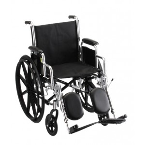 "Wheelchair Steel 18"" Detachable Arms Elevating Leg Rests"