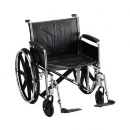 "Wheelchair Steel 22"" Detachable Folding Arms Swing Away Footrests"
