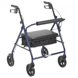 Rollator Bariatric Blue With Padded Seat and Loop Lock