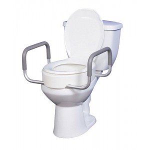 Elevated Toilet Seat With Arms For Elongated Toilets