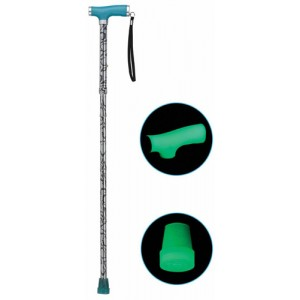 Folding Alum Cane With Glow Grip Handle & Tip Silver Mist