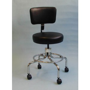 Classic Doctors Stool With Back With Foot Ring & Casters