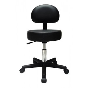 Pneumatic Doctors Stool Black With Back Rest Without Foot Ring