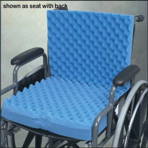 Convoluted Wheelchair Cushion With Back & Blue Polycotton Cover