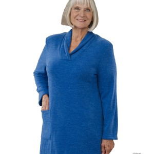 Womens Adaptive Open Back Dresses - Winter Warm Disabled Clothes - Back Snap