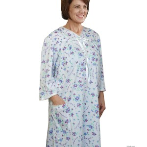 Womens Hospital Gowns Soft Cotton Knit Adaptive Pattern  - Open Back - Back Snap Night Gown