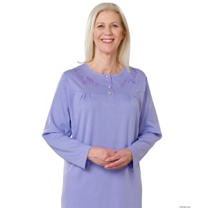 Hospital Gowns - Womens Cotton Knit Adaptive Open Back Hospital Nightgown - Back Snap Night Gowns