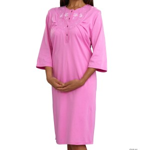 Hospital Gowns - Women's Cotton Knit Pretty Hospital Gown - Back Snap Night Gowns