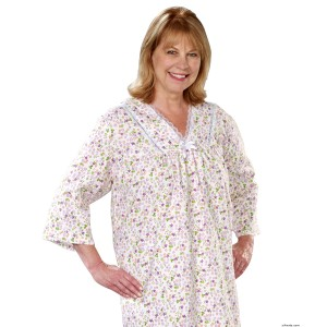 Hospital Gowns - Womens Pretty Flannel Hospital Gowns - Open Back - Back Snap Night Gown