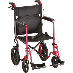 """Transport Chair 20"""" Lightweight With Handbrakes Red"""