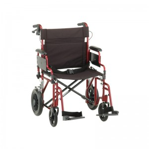 """Transport Chair 22"""" Handbrakes Foldable Desk Arms Red"""