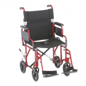 """Transport Chair 19"""" Lightweight Foldable Desk Arms Red"""