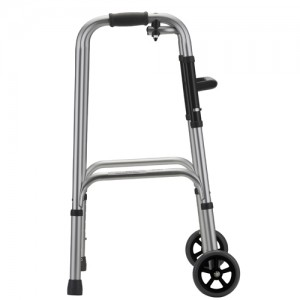 """Folding Walker With 5"""" Wheels 1 Button Small"""