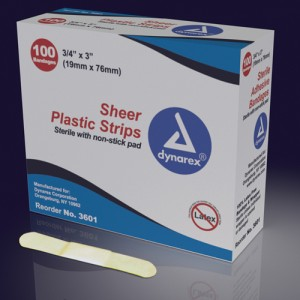 Adhesive Bandages Sheer Strips Sterile 1 x3 100/