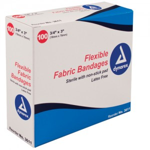 Flexible Fabric Adhesive Bandages Knuckle 1-1/2 x3 /100
