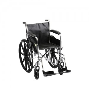 """Wheelchair Steel 18"""" Fixed Full Length Arms Swing Away Footrests"""