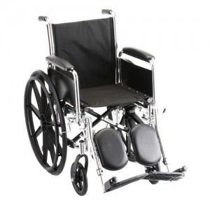 "Wheelchair Steel 16"" Detachable Folding Arms Elevating Leg Rests"