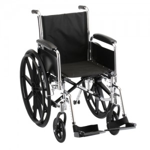 "Wheelchair Steel 16"" Detachable Folding Arms Swing Away Footrests"