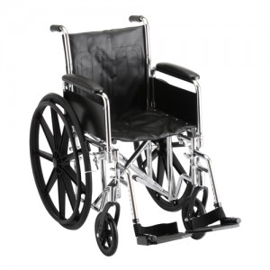 "Wheelchair Steel 16"" With Detachable Arms Swing Away Foot Rests"