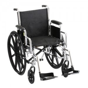"""Wheelchair Steel 18"""" Detachable Arms Swing Away Footrests"""