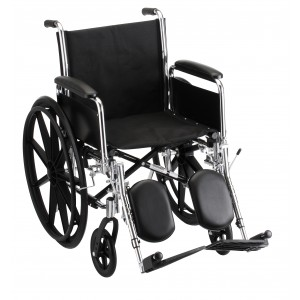 """Wheelchair Steel 18"""" Detachable Folding Arms Elevating Leg Rests"""