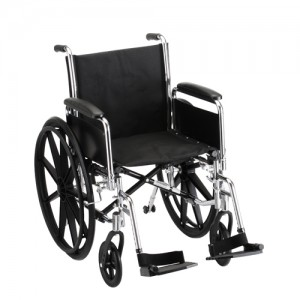 """Wheelchair Steel 18"""" Detachable Folding Arms Swing Away Footrests"""