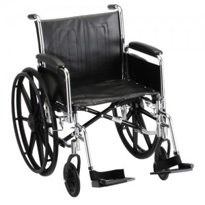 "Wheelchair Steel 20"" Detachable Folding Arms Swing Away Footrests"