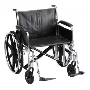 """Wheelchair Steel 24"""" Detachable Folding Arms Elevating Leg Rests"""