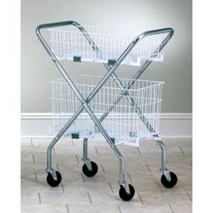 Folding Utility Hamper Cart With 1-6 & 1-12 Wire Basket