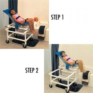Dual Shower/Transfer Chair PVC Articulating With One-Step Lock