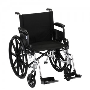 """Wheelchair Lightweight 20"""" Foldable Desk Arms Swing Away Footrests"""