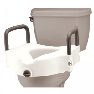 "Raised Toilet Seat With Detachable Arms - 5"" Locking"