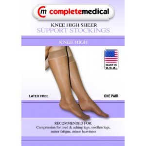 Ladies' Sheer Moderate Support Large 15-20mm High Knee Highs Beige