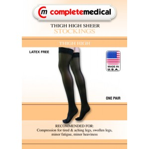 Ladies' Sheer Moderate Support Sm 15-20mm High Thgh With StayTop Black