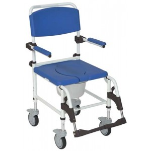 Shower/Commode Rehab Chair Aluminum With Locking Rear Cstrs