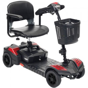 Spitfire Scout 4 Red (4-Wheel) Compact Travel Scooter